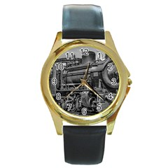 Steam Locomotive, Montevideo, Uruguay Round Gold Metal Watch by dflcprintsclothing