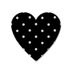 Black And White Baseball Motif Pattern Heart Magnet by dflcprintsclothing
