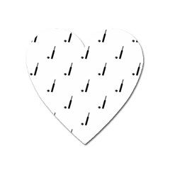 Black And White Cricket Sport Motif Print Pattern Heart Magnet by dflcprintsclothing