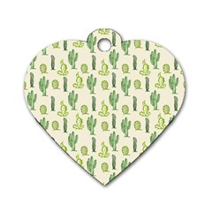 Cactus Pattern Dog Tag Heart (one Side) by goljakoff