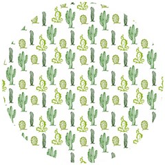 Cactus Pattern Wooden Puzzle Round by goljakoff