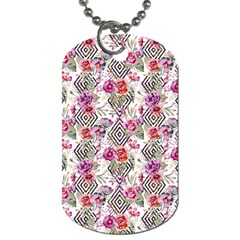 Geometric Flowers Dog Tag (two Sides) by goljakoff