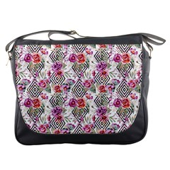 Geometric Flowers Messenger Bag by goljakoff