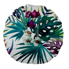 Tropical Flowers Large 18  Premium Round Cushions by goljakoff