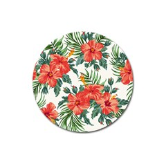 Red Flowers Magnet 3  (round) by goljakoff