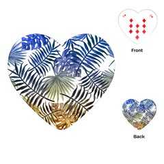 Blue And Yellow Tropical Leaves Playing Cards Single Design (heart) by goljakoff