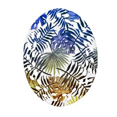 Blue And Yellow Tropical Leaves Oval Filigree Ornament (two Sides) by goljakoff