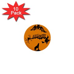 Happy Halloween Scary Funny Spooky Logo Witch On Broom Broomstick Spider Wolf Bat Black 8888 Black A 1  Mini Buttons (10 Pack)  by HalloweenParty