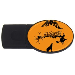 Happy Halloween Scary Funny Spooky Logo Witch On Broom Broomstick Spider Wolf Bat Black 8888 Black A Usb Flash Drive Oval (4 Gb) by HalloweenParty