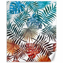 Blue Tropical Leaves Canvas 11  X 14  by goljakoff