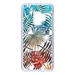 Blue Tropical Leaves Samsung Galaxy S9 Seamless Case(white) by goljakoff