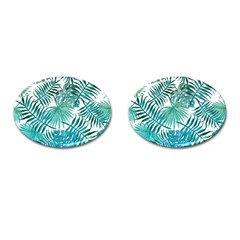 Blue Tropical Leaves Cufflinks (oval) by goljakoff