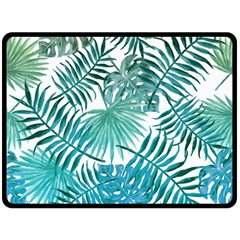 Blue Tropical Leaves Double Sided Fleece Blanket (large)  by goljakoff