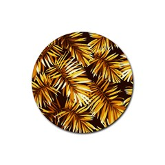 Golden Leaves Rubber Round Coaster (4 Pack)  by goljakoff