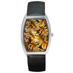 Golden Leaves Barrel Style Metal Watch by goljakoff