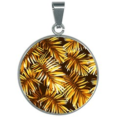 Golden Leaves 30mm Round Necklace by goljakoff