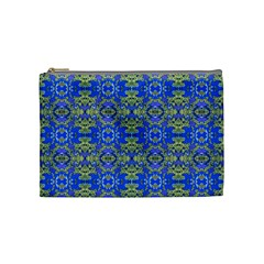 Gold And Blue Fancy Ornate Pattern Cosmetic Bag (medium) by dflcprintsclothing