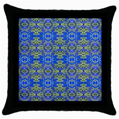 Gold And Blue Fancy Ornate Pattern Throw Pillow Case (black) by dflcprintsclothing