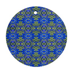Gold And Blue Fancy Ornate Pattern Round Ornament (two Sides) by dflcprintsclothing
