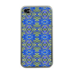 Gold And Blue Fancy Ornate Pattern Iphone 4 Case (clear) by dflcprintsclothing