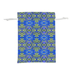 Gold And Blue Fancy Ornate Pattern Lightweight Drawstring Pouch (l) by dflcprintsclothing