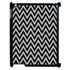 Chevron Style Collection - Silver Sand Grey & Black Apple Ipad 2 Case (black) by FEMCreations