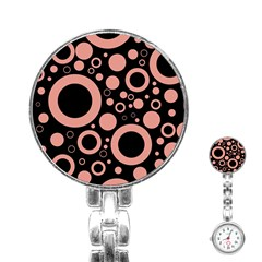 Circle Party Collection - Blooming Dahlia Red & Black Stainless Steel Nurses Watch