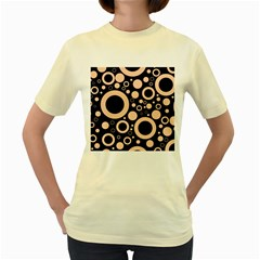 Circle Party Collection - Soft Apricot Orange & Black Women s Yellow T-shirt by FEMCreations