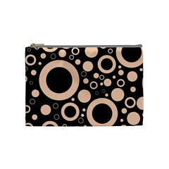 Circle Party Collection - Soft Apricot Orange & Black Cosmetic Bag (medium)
