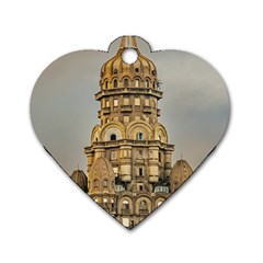 Salvo Palace Exterior View, Montevideo, Uruguay Dog Tag Heart (two Sides) by dflcprintsclothing