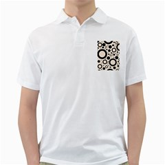 Circle Party Collection - Antique White & Black Golf Shirt