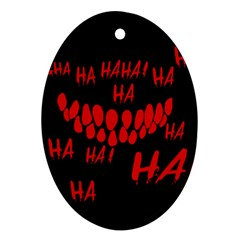 Demonic Laugh, Spooky Red Teeth Monster In Dark, Horror Theme Ornament (oval)