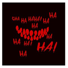 Demonic Laugh, Spooky Red Teeth Monster In Dark, Horror Theme Large Satin Scarf (square) by Casemiro