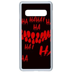 Demonic Laugh, Spooky Red Teeth Monster In Dark, Horror Theme Samsung Galaxy S10 Seamless Case(white)