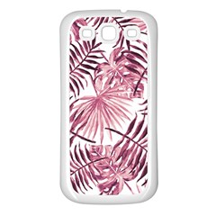 Pink Leaves Samsung Galaxy S3 Back Case (white)