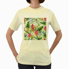 Tropical Flowers Women s Yellow T-shirt by goljakoff