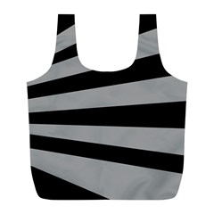Striped Black And Grey Colors Pattern, Silver Geometric Lines Full Print Recycle Bag (l)