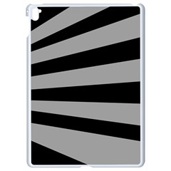 Striped Black And Grey Colors Pattern, Silver Geometric Lines Apple Ipad Pro 9 7   White Seamless Case