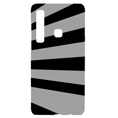 Striped Black And Grey Colors Pattern, Silver Geometric Lines Samsung A9 Black Uv Print Case