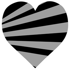 Striped Black And Grey Colors Pattern, Silver Geometric Lines Wooden Puzzle Heart