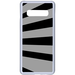 Striped Black And Grey Colors Pattern, Silver Geometric Lines Samsung Galaxy S10 Plus Seamless Case(white)