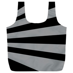 Striped Black And Grey Colors Pattern, Silver Geometric Lines Full Print Recycle Bag (xxxl)