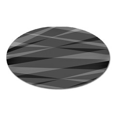 Abstract Geometric Pattern, Silver, Grey And Black Colors Oval Magnet