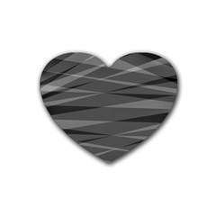 Abstract Geometric Pattern, Silver, Grey And Black Colors Rubber Coaster (heart)