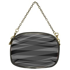 Abstract Geometric Pattern, Silver, Grey And Black Colors Chain Purse (one Side)