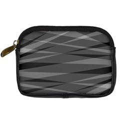 Abstract Geometric Pattern, Silver, Grey And Black Colors Digital Camera Leather Case