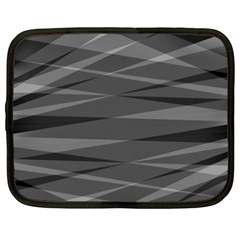 Abstract Geometric Pattern, Silver, Grey And Black Colors Netbook Case (xxl)