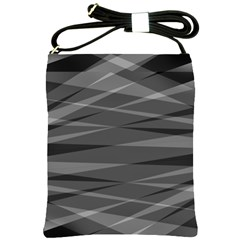 Abstract Geometric Pattern, Silver, Grey And Black Colors Shoulder Sling Bag