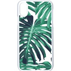 Green Monstera Leaf Iphone X Seamless Case (white)