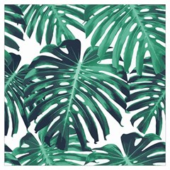 Green Monstera Leaf Long Sheer Chiffon Scarf